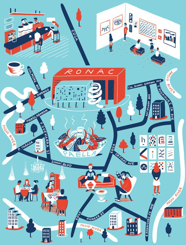 Map of Manila for Computer Arts magazine issue 217. Illustrated by Daniel Gray.