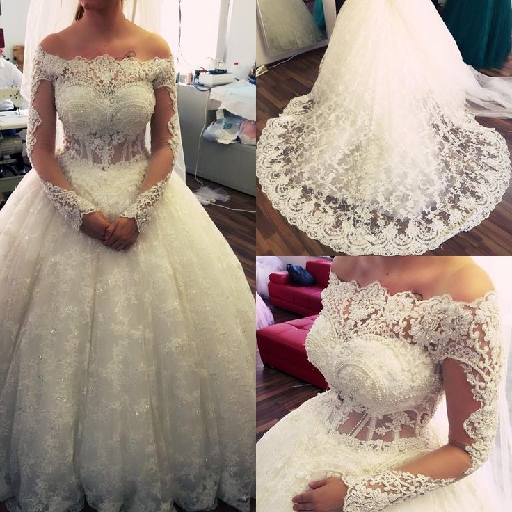Amazing Off-the-Shoulder Lace Pearls Long Sleeves Ball Gown Wedding Dresses
