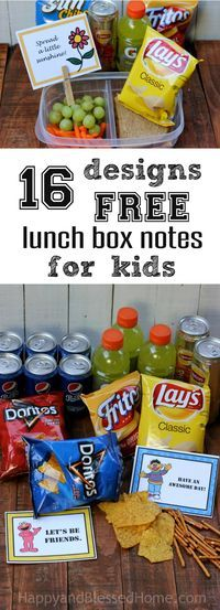 16 Designs FREE Lunch Box Notes for Kids with snacking tips from HappyandBlessedHome.com These lunch box notes were inspired by Albertsons Anniversary Sale where you can stock up on chips, Pepsi and more - perfect for packing lunches! #ad #AHugeSale #Coll