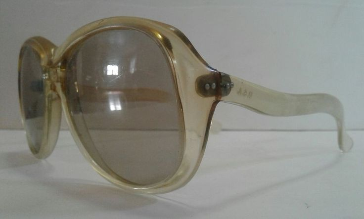Vintage 60s Foster Grant OVERSIZED SUNGLASSES yellow clear frames Made USA | eBay