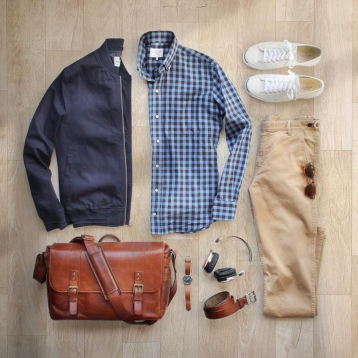 I think we skipped spring and went straight to summer #spring Chinos: @corridornyc Tan Stretch ChinosMade in USA Shirt: @ledburyshirts Bag: @onabags Headphones: @lstnsound Jacket: @topman via @nordstrommen Watch: @tsovet Belt: @jcrew Shoes: @converse Jack Purcell by thepacman82