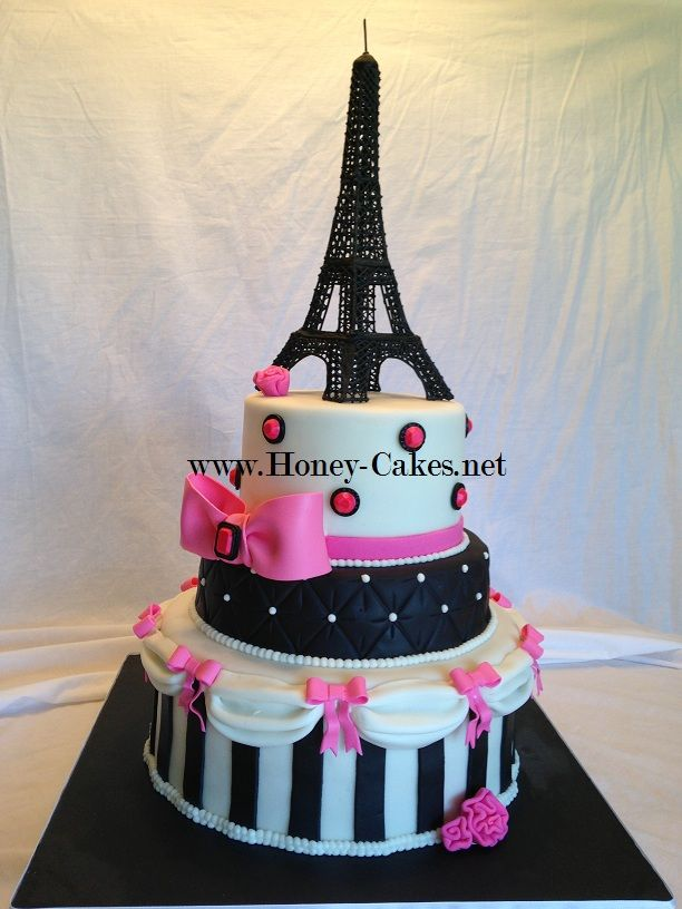 Pink and Black Paris Cake with Icing Eiffel Tower | Torre ...