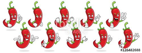 """Download the royalty-free vector """"chili pepper mascot vector pack, chili pepper character set, vector of chili pepper"""" designed by ednal at the lowest price on Fotolia.com. Browse our cheap image bank online to find the perfect stock vector for your marketing projects!"""
