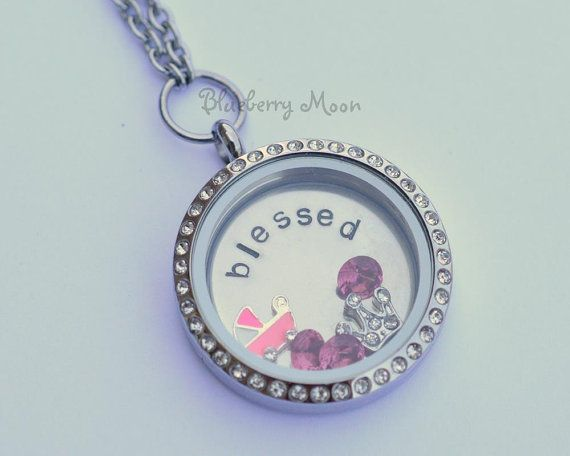 Mothers necklace, baby girl glass memory locket floating charm, new mom gift on Etsy, $40.00 CAD