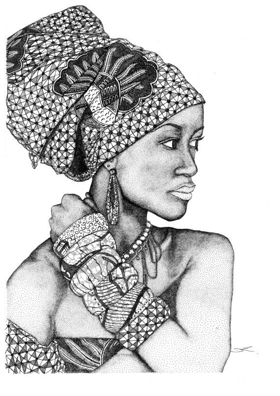 African Goddess Dotted Freehand Illustration made of just that... ONLY DOTS....