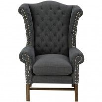 Crown wing chair vintage charcaol canvas