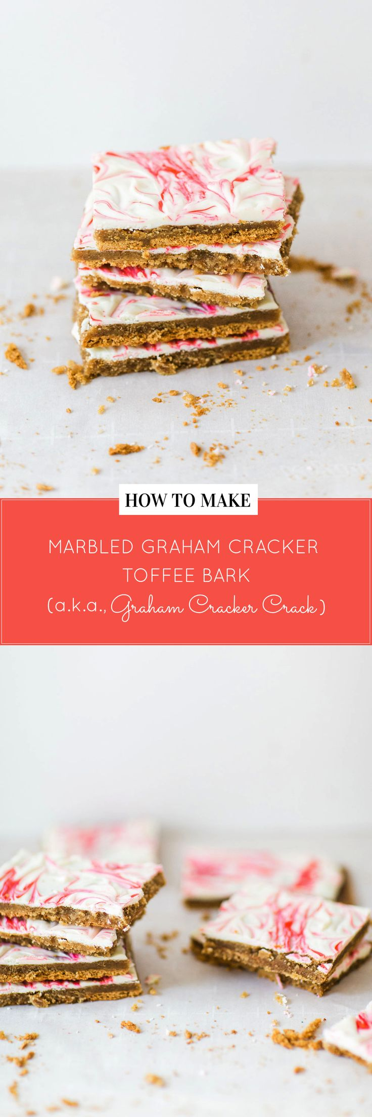 How to make marbled graham cracker toffee bark (a.k.a., graham cracker crack). It's kind of perfect for Valentine's Day, don't ya think? Click through for the recipe. | glitterinc.com | @glitterinc