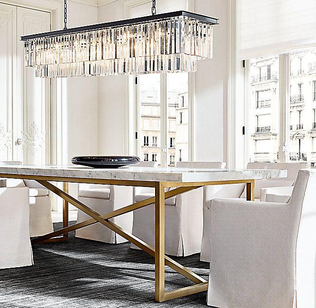Rh Modern Savilla Rug Graphite Dining Table