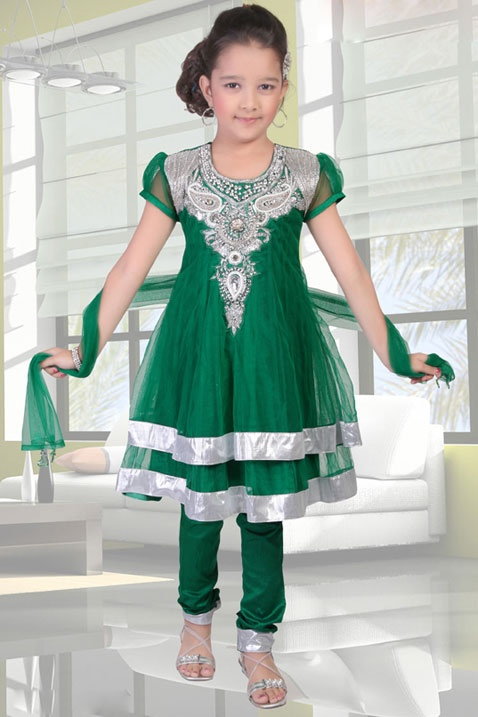 Green Net Readymade Churidar Kameez with Dupatta Online Shopping: UFG6 adore this green sheer lovely Indian style little girls outfit in beautiful emerald silk with silver decoration embroidery