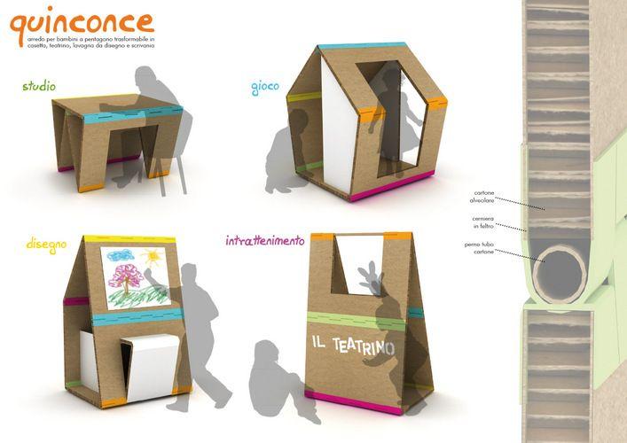 andrea brugnera designer arredi cartone cardboard furniture eco design yellowbasket xxs competition quinconce scrivania casetta teatrino lavagna