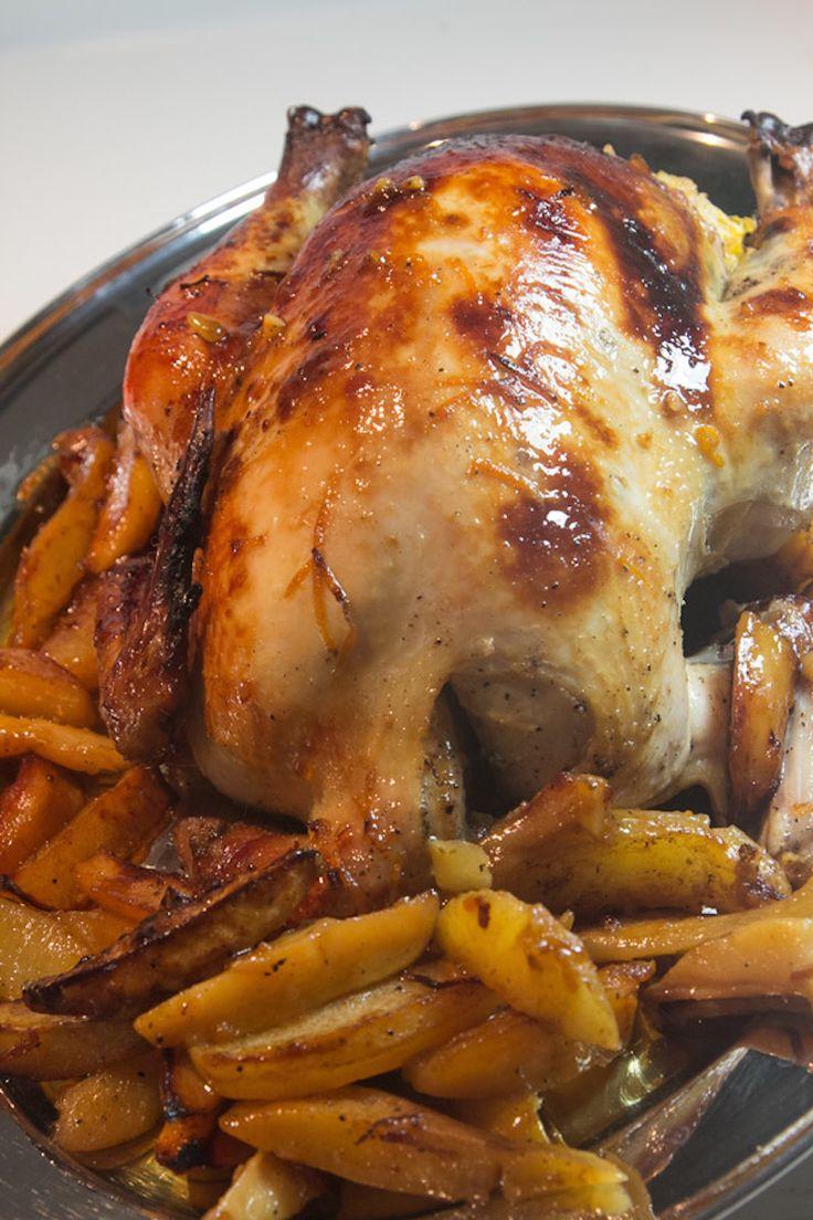 chicken with orange and honey stuffed [CHICKEN STUFFED METAXOMELOPORTOKALENIO ]