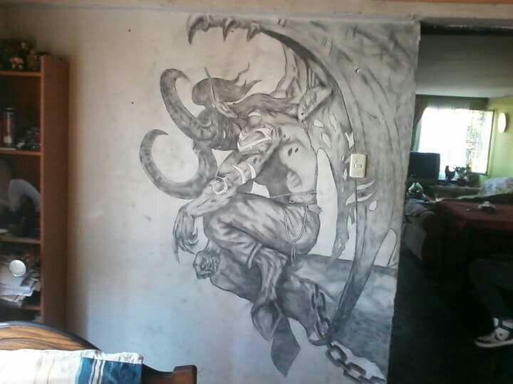 #illidan #mural #warcraft #blancoynegro