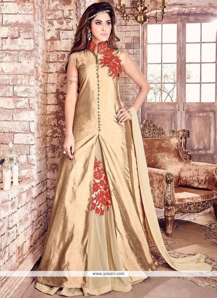 Breathtaking Embroidered Work Gold Bhagalpuri Silk Floor Length Designer Salwar Suit Model: YOS9534