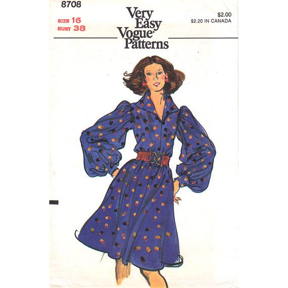1970s Vintage Dress Pattern Vogue 8708 Bust 38 Loose Tent Dress Full Long Sleeves Collar Ladies Blouson Dress Womens Sewing Pattern UNCUT