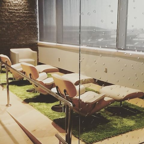 Relax in @aerlingus new lounge before takeoff at JFK airport. Featuring our Kasthall Moss rug!