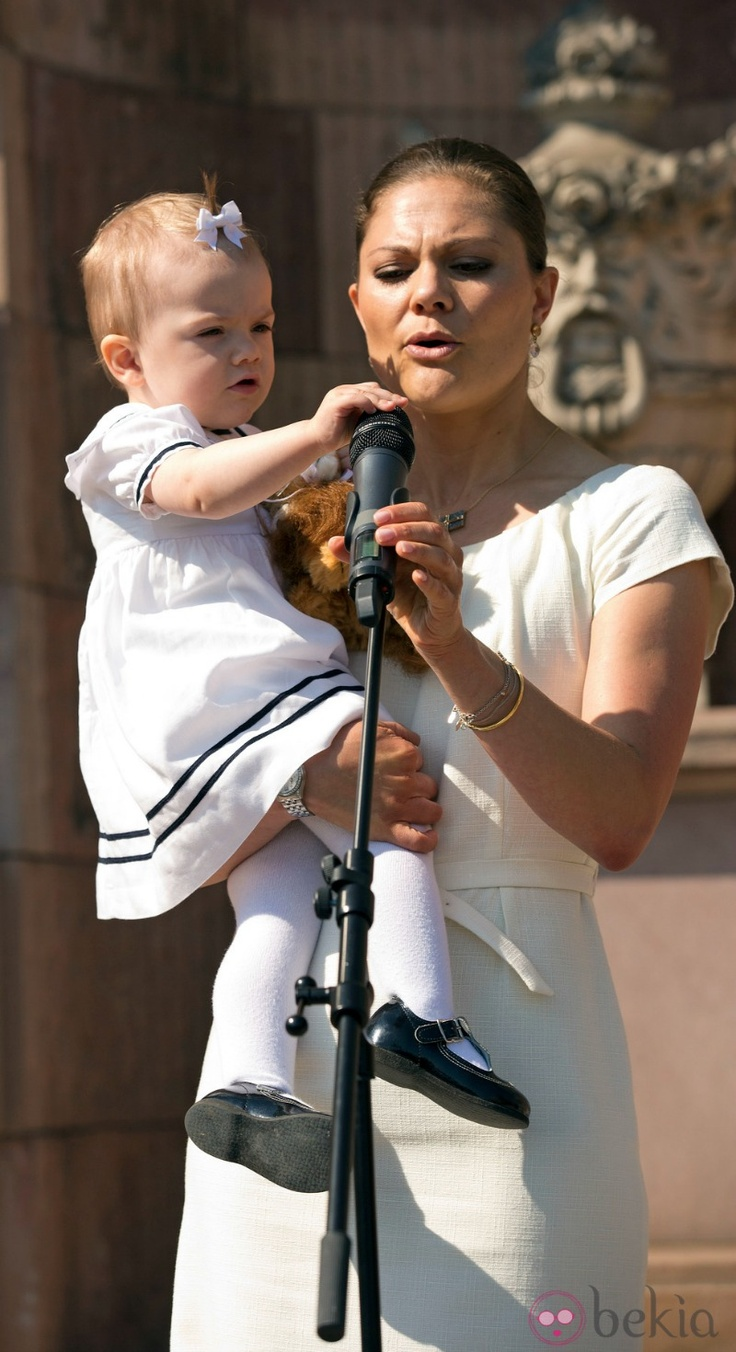 """Crown Princess Victoria, Prince Daniel and Princess Estelle  inaugurates the exhibition """"Open Palace"""" at the Royal Palace in Stockholm during celebration of the Swedish national day."""