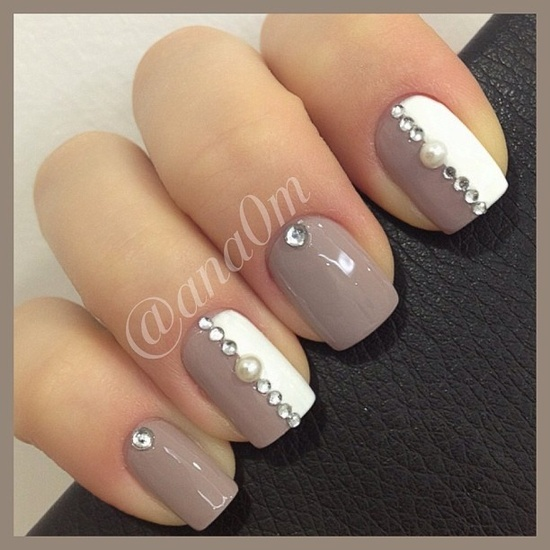 Taupe and white bejeweled
