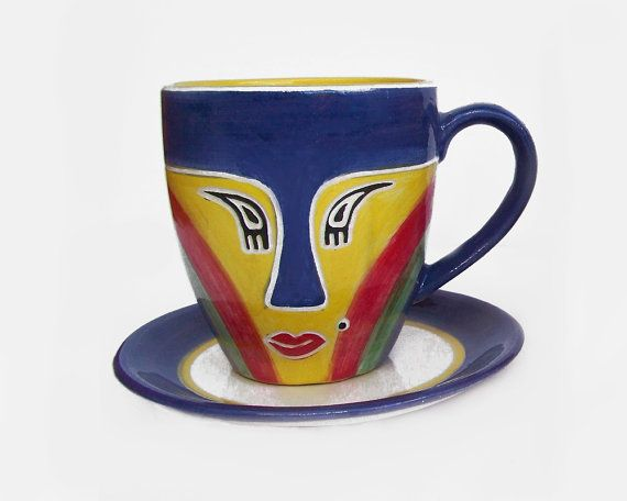Handmade coffee mug and teacup + free saucer | Suitable for any coffee pour over | Unique mugs for the office in blue, yellow, red and green