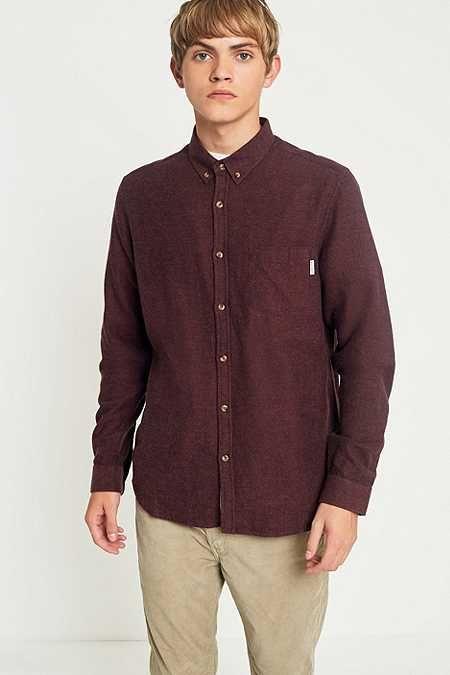 Shore Leave by Urban Outfitters Burgundy Brushed Herringbone Shirt