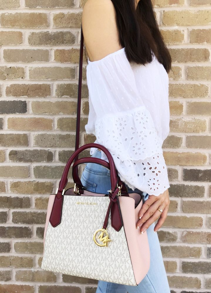 060c906f879fce fashion Michael Kors Kimberly Small Satchel Vanilla MK Signature Mulberry  Pastel Pink