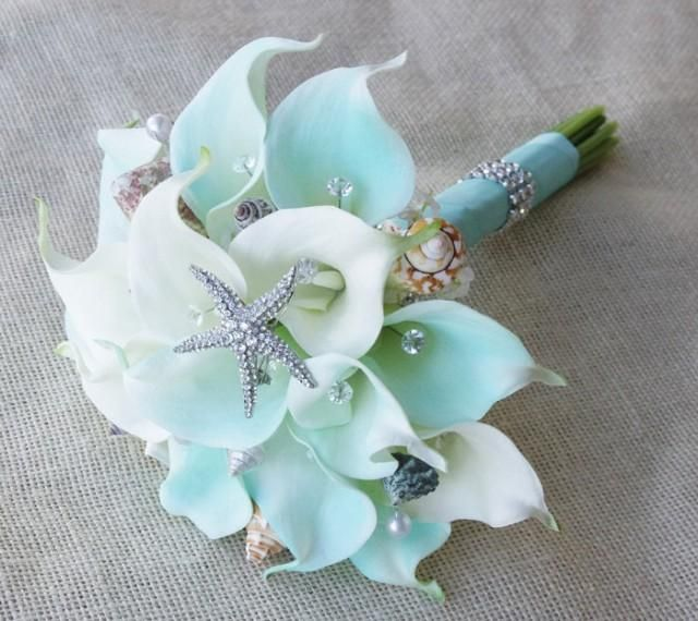 Silk Flower Wedding Bouquet - Aqua Mint Robbin's Egg Calla Lilies Natural Touch with Crystals Seashells and Starfish Silk Bridal Bouquet