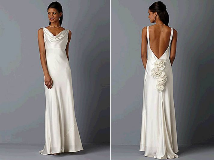 Ivory silk cowl neck wedding dress with open back for Satin cowl neck wedding dress