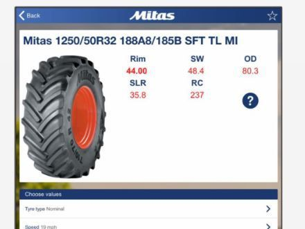 Die neue Reifendruck-App soll Landwirten helfen, den richtigen Luftdruck für ihre Reifen zu ermitteln und die besten Ergebnisse bei der Arbeit zu erzielen. Anwender müssen nur die betreffende Reifengröße angeben, Geschwindigkeit und Radlast einstellen und der richtige Reifendruck wird auf der Stelle angezeigt.