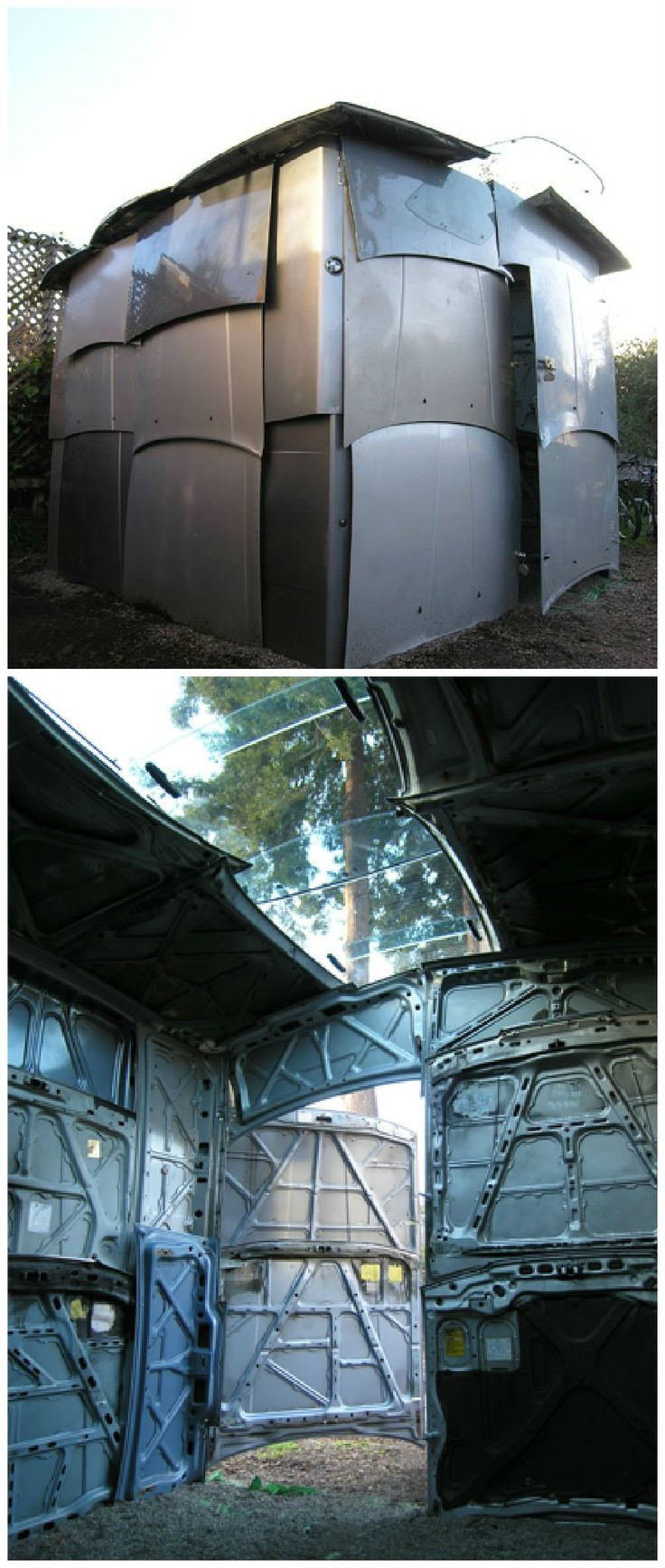 Shed Made From Salvaged Car Parts #Car, #Shed, #Upcycled