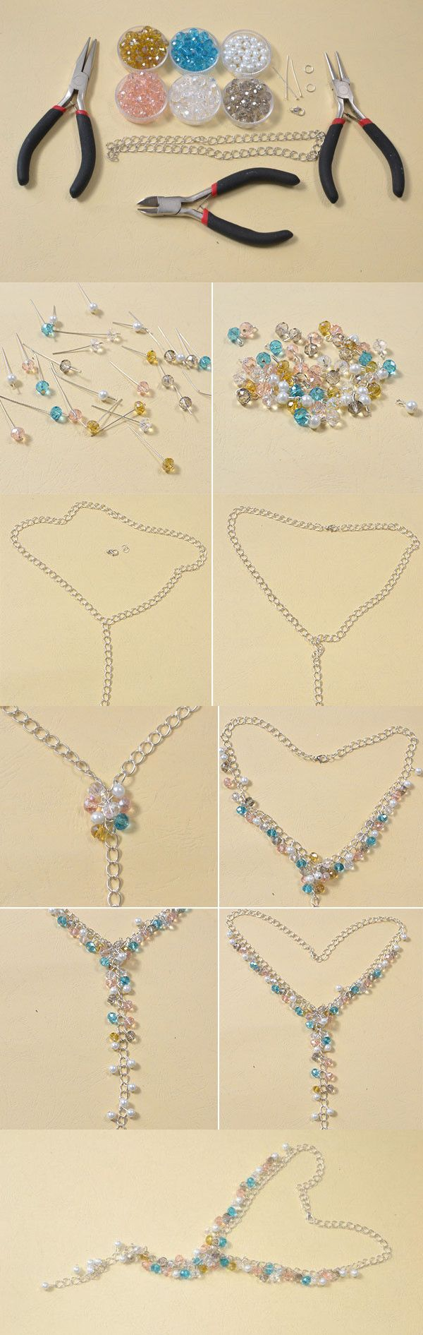 Tutorial on How to Make Valentine's Day Chain Necklaces with Glass Beads from LC.Pandahall.com