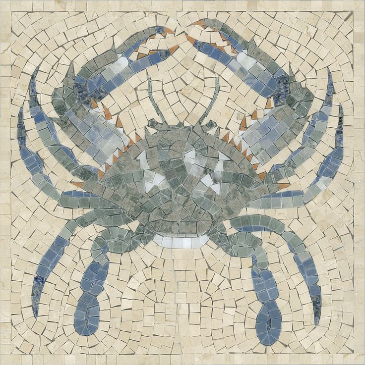 Crab Mosaic Panel By Appomattox Tile Art Mosaic Paint