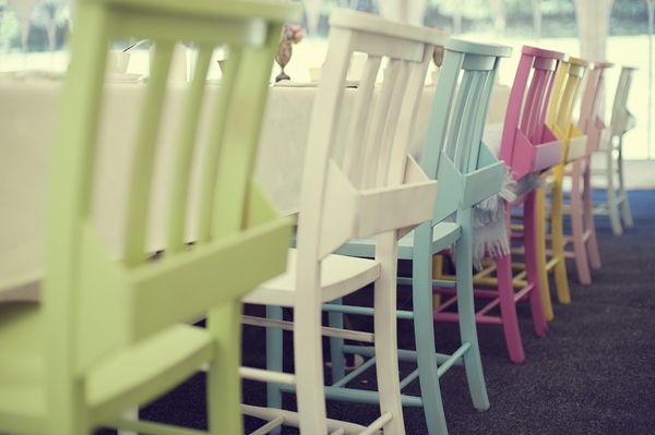 pastel chairsPainting Gardens Chairs, Colours Chairs, Pretty Pastel, Book Shelves, Outdoor Sets, Pastel Chairs, Painting Chairs, Furniture Decor, Colors Chairs
