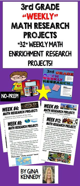 3rd Grade Math Enrichment Research Projects for the Entire Year. From researching the prices of pets to calculating the differences between the heights of buildings, your students will love these projects. Great for early finishers, advanced learners and whole class fun. No teacher prep, great rigor and perfect math skills/technology integration! Print and go math enrichment!$