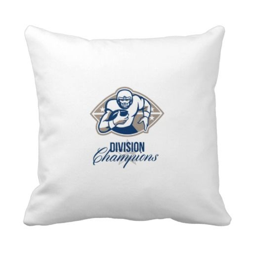 """American Football Runningback Division Champions Polyester Throw Pillow 16"""" x 16"""""""