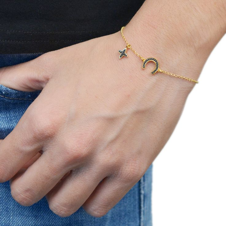 Horseshoe Bracelet Sterling Silver 925,Rose Gold Bracelet,Yellow Gold Bracelet,Tiny Cross,Birthday Gift,Bridesmaid Gift,Lucky Charm by AmorAmorSilver on Etsy
