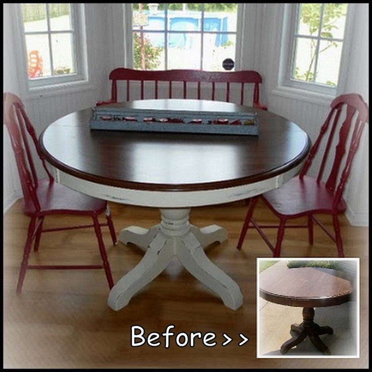 Pedestal Kitchen Table Makeover   No Tutorial But I Like The Different  Color Chairs And Table