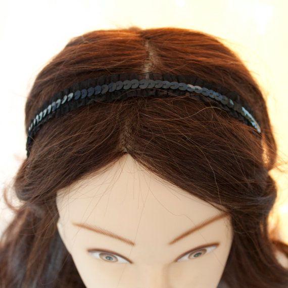 Black Lace and sequin Headband, bridal headband, Wedding headpiece, Black wedding accessory, bridesmaid hairpiece, flower girl accessory