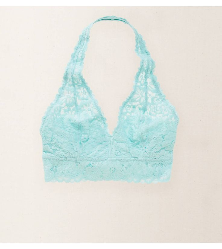 Spring Break Aerie Softest Lace Halter Bralette - Bare your pretty back with a lacy halter strap! #Aerie