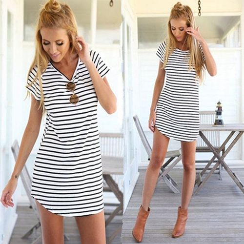 Cheap blouse cutting, Buy Quality blouse top directly from China blouse winter Suppliers: Women Summer Beach Dress Party Short Sleeve Stripe Blouse Top Mini Sundress