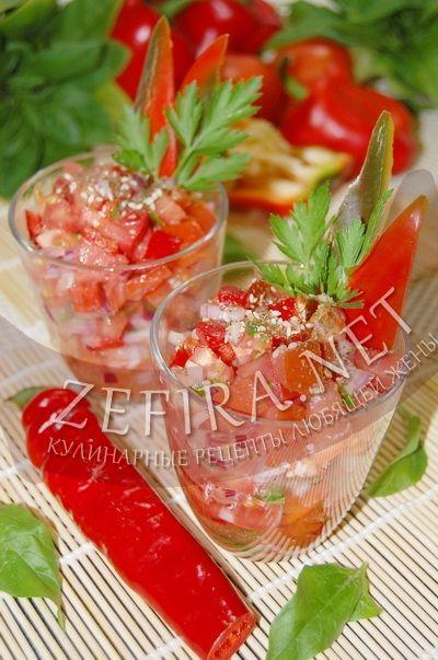 Острый салат из помидоров и болгарского перца-домашние рецепты с фото