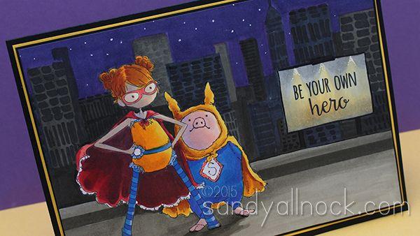 Color a Night Cityscape: Superhero Duos