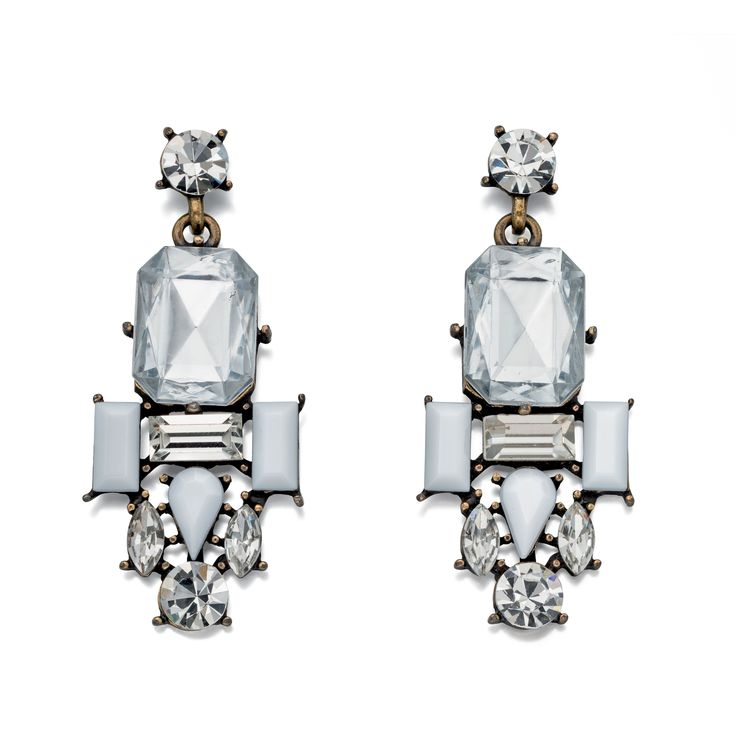 Designer Antique Brass Clear & White Crystal Cluster Earrings by Fiorelli - From the new Fiorelli Costume Autumn Winter collection, these statement earrings is all about making the ordinary extraordinary. Produced from white or yellow alloy, this piece comes packaged in a beautiful Fiorelli gift pouch: http://ow.ly/XA0VW