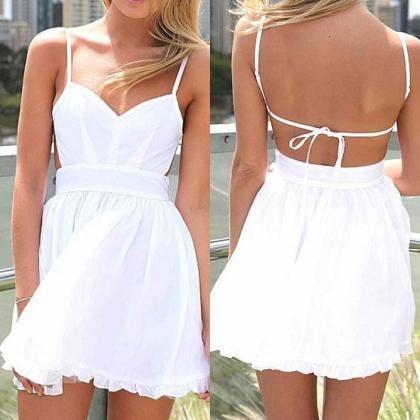 Spaghetti Strap Backless White Dress