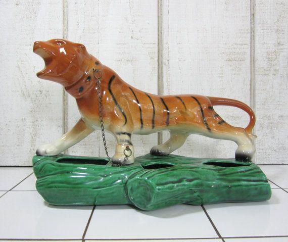 Vintage tiger planter jungle animal big cat orange black for Classic jungle house for small animals
