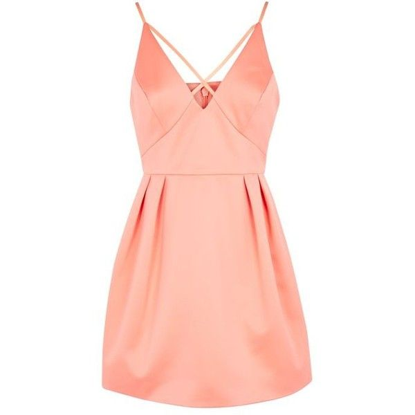 Topshop Petite Cross Front Prom Dress (1.820 CZK) ❤ liked on Polyvore featuring dresses, formal cocktail dresses, red prom dresses, red party dresses, red formal dresses and formal party dresses
