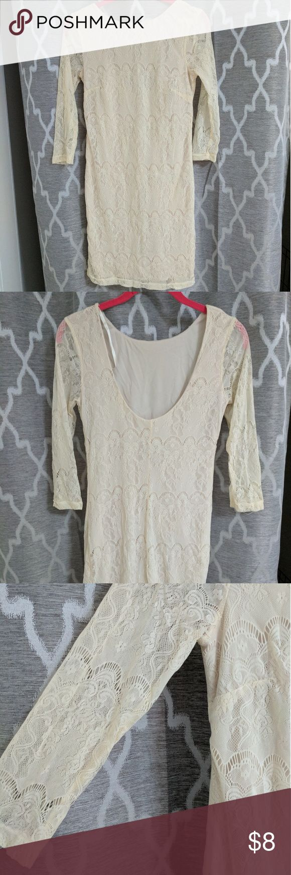 Pins & Needles Cream Lace Dress Size small Cream lace dress. Sleeves are see through but body has a cream liner.  100% nylon and 100% polyester Pins & Needles Dresses Mini
