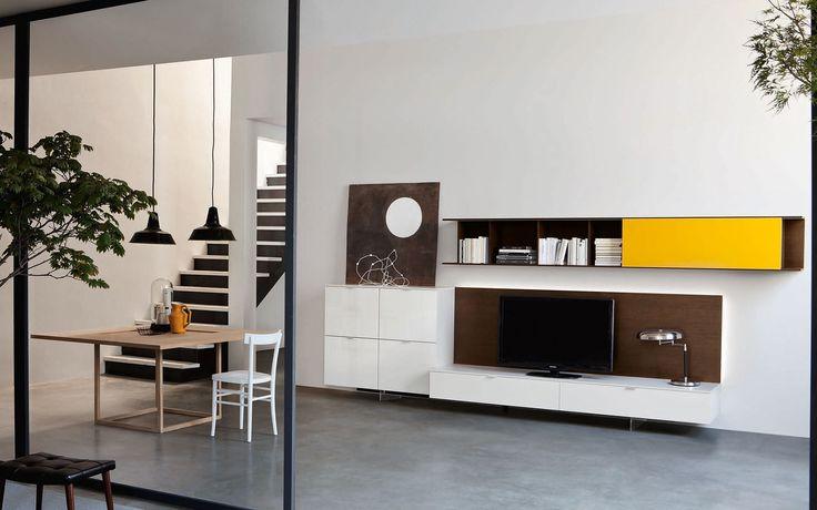 Sospendo Wall Unit by Sangiacomo, Italy in gloss Amarena lacquer - hängeschrank wohnzimmer aufhängen