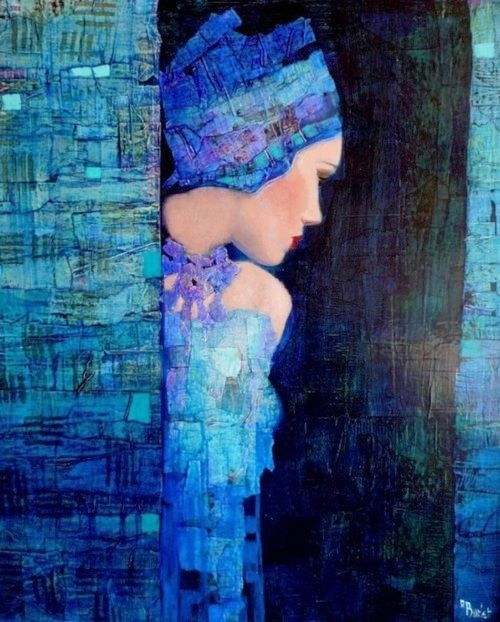 Muy lindo, la manera misteriosa en la que esconde esta mujer, me recuerda a Gustav Klimt obra de Richard Burlet~ I love the softness of the colors, even though the blue is bold. She seems to have a special glow.