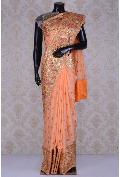 Pure Satin Embroidery-Coral Orange-Gota Work-WG203083
