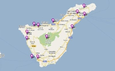 map of the largest Canarian Island, Tenerife!