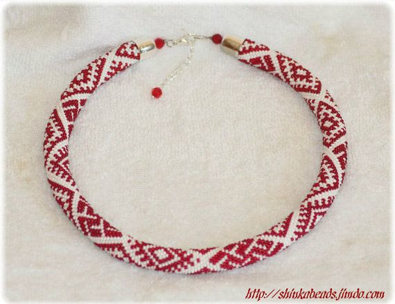 Latvian ethnical motives Fire cross or Thunder cross bead crocheted necklace BRIGHT red - seed bead bangle - geometric pattern